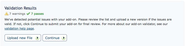 Screenshot of validation results