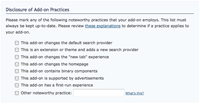 Disclosure of Add-on Practices checkboxes