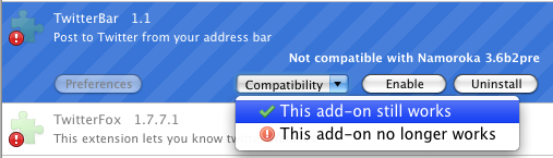 Screenshot of the Add-on Compatibility Reporter