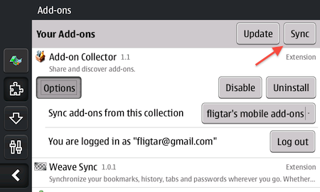 Screenshot of Add-on Collector on mobile