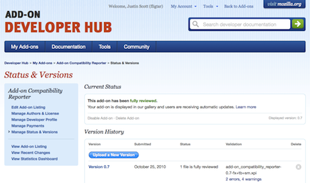Screenshot of Manage Status and Versions page