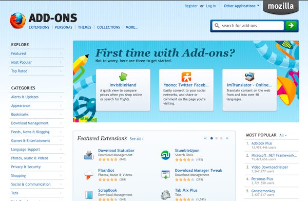 Screenshot of new homepage