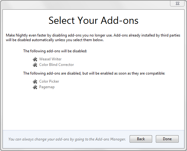 Screenshot of add-on confirmation dialog