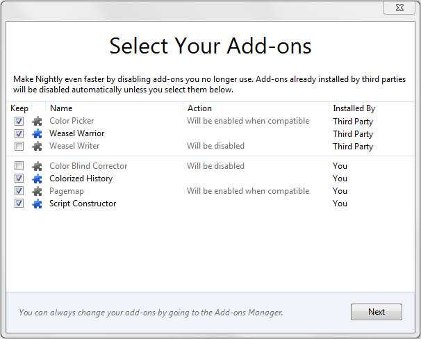 Screenshot of add-on selection dialog