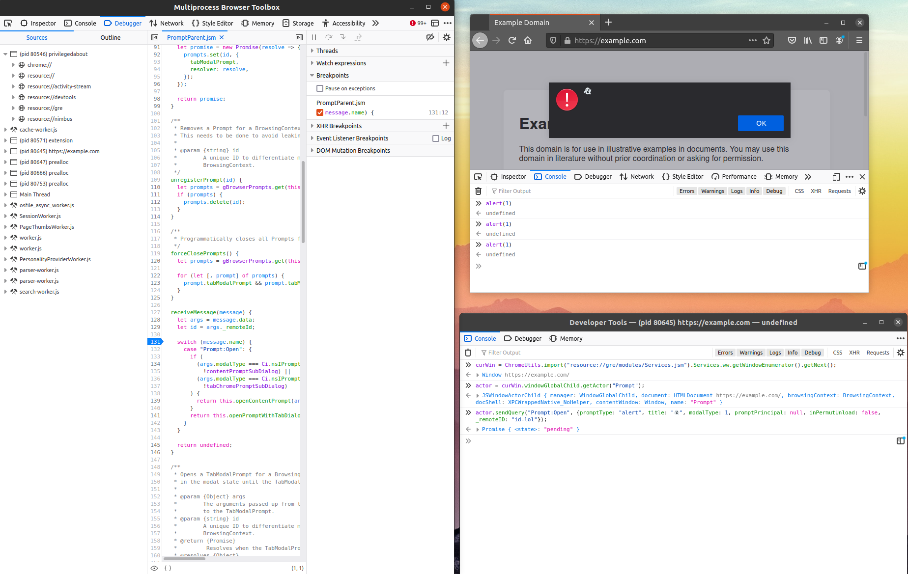 Invoking JavaScript IPC from Firefox Developer Tools (bottom right) and observing the effects (top right)
