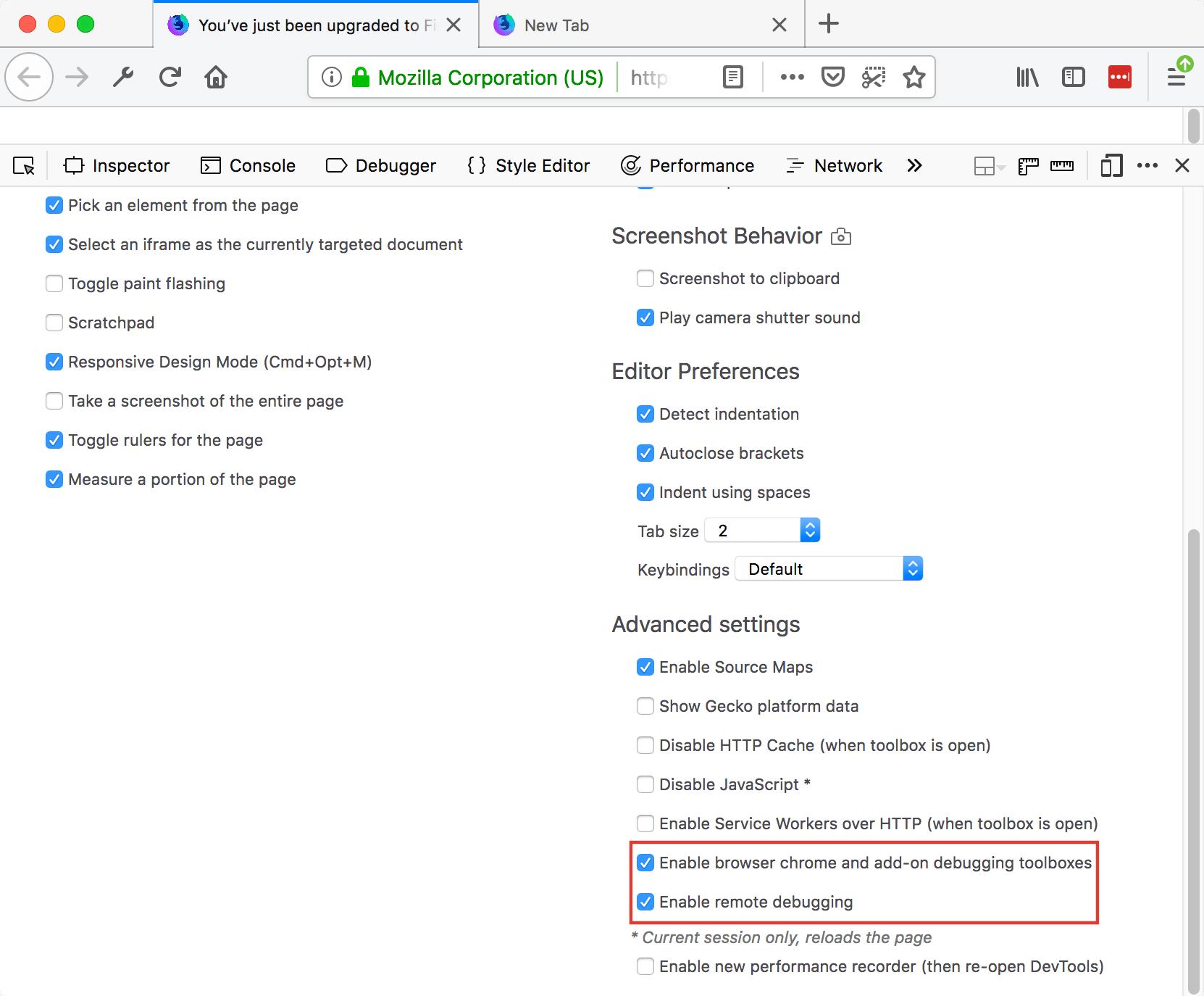 Enabling Browser debugging in Firefox Developer Tools