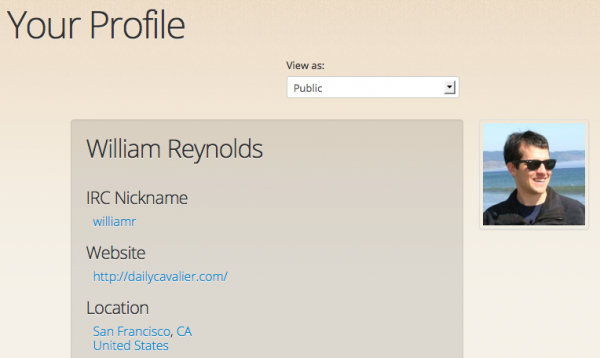 Quickly check who can see your profile information with the 'View as' dropdown menu.