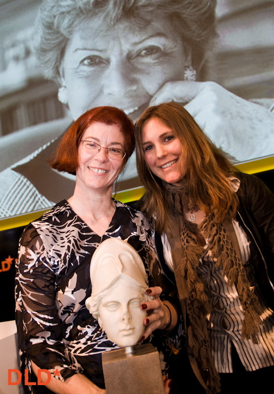 Mitchell with Lisa Burda, granddaughter of Aenne, at award ceremony. DLD conference, Munich 2010.