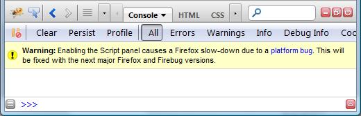 Console Panel Warning