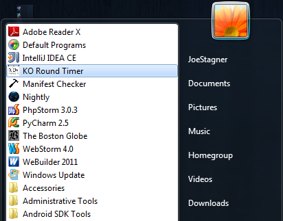 HTML5 app in the Windows Start Menu