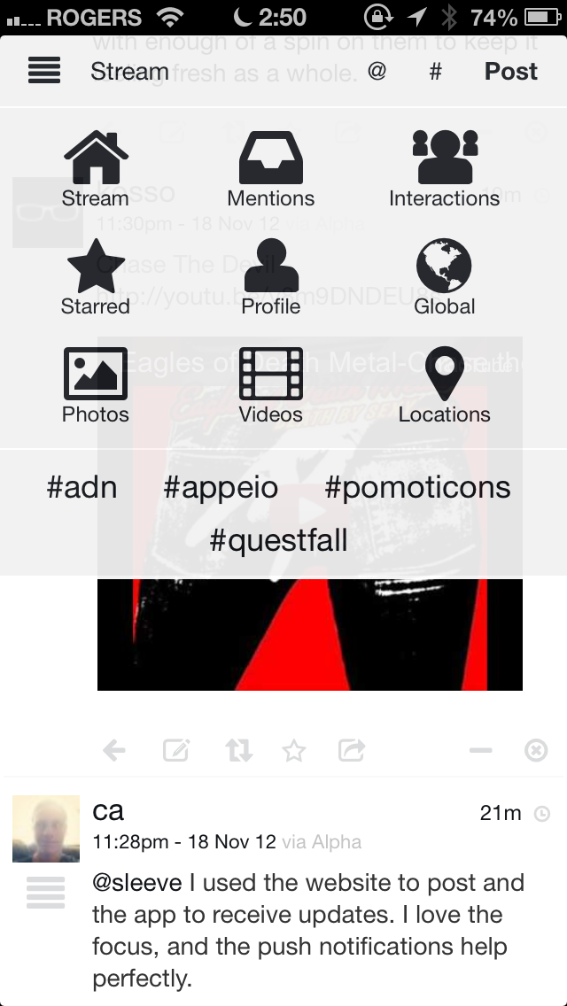Screenshot of Appeio on mobile