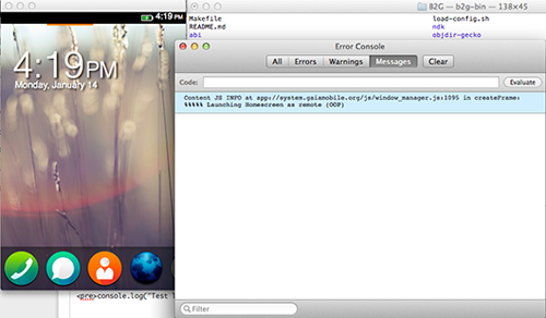 Screen shot of B2G desktop running with jsconsole