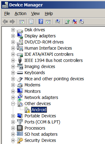 Device Manager before driver installed