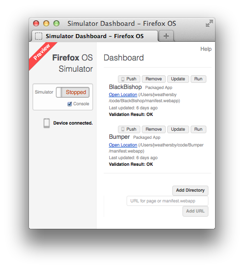 Firefox OS Simulator on a Mac