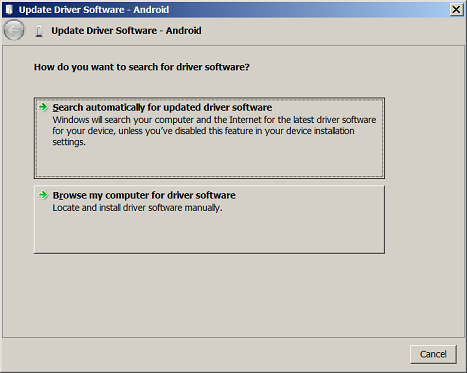 Update driver dialog