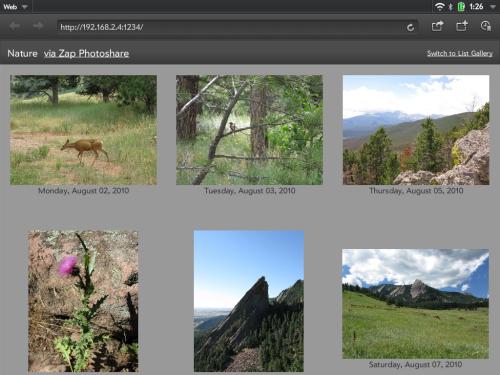 photo gallery: thumbnail grid