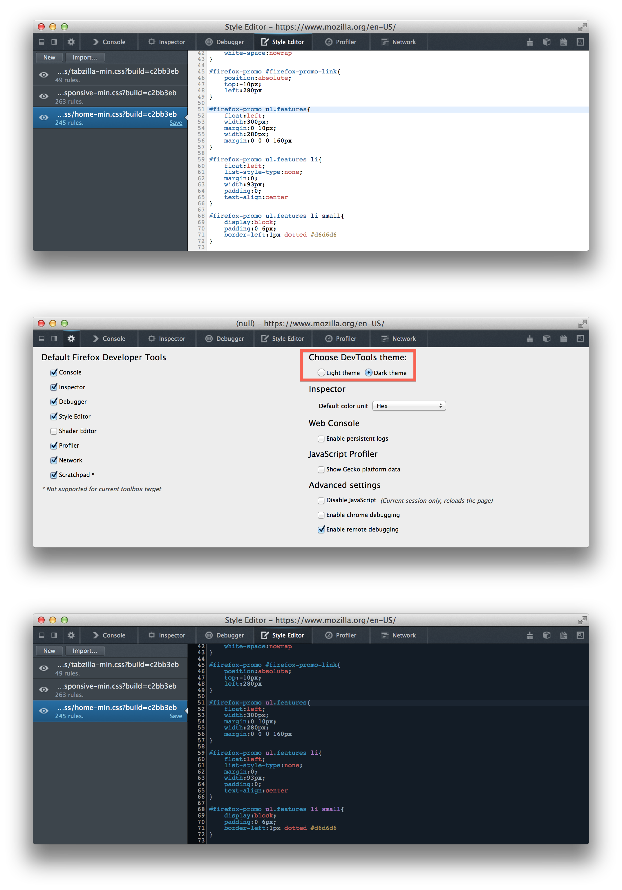 how to open firefox developer tools