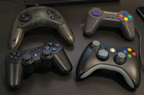 A collection of game controllers