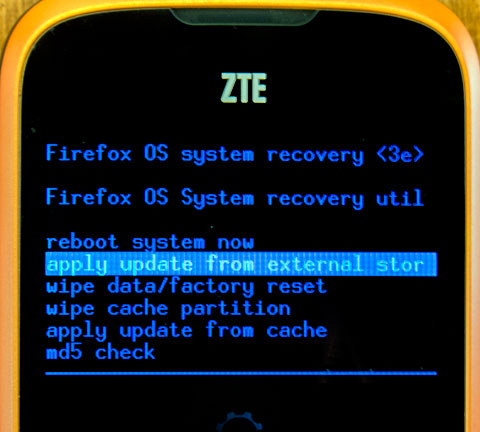 Firefox OS Recovery Mode