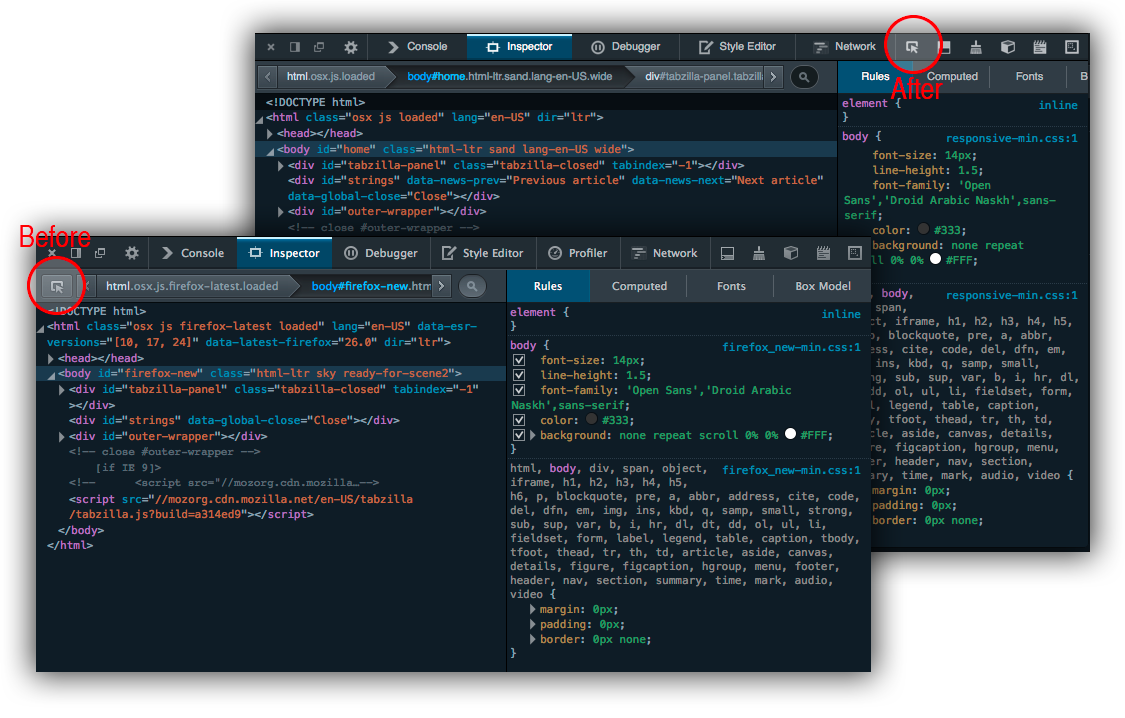 new node highlighter position in the devtools