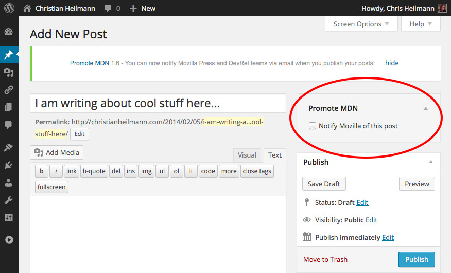 notify mozilla checkbox in the new post screen of wordpress