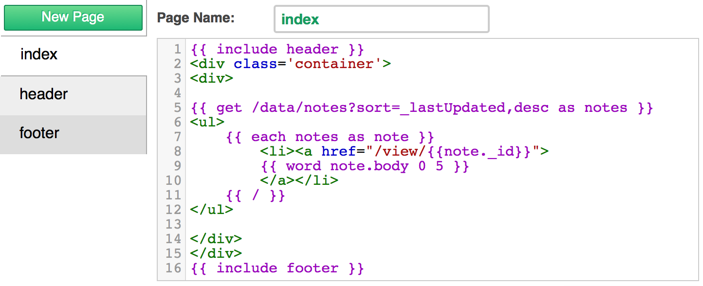 Add the above code in the 'index' page