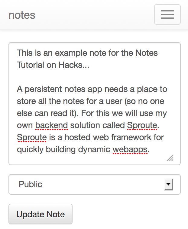 Notes app at mobile width