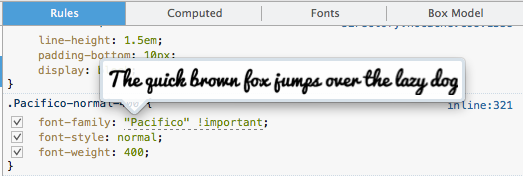 Screenshot of a web font being previewed in the Inspector panel