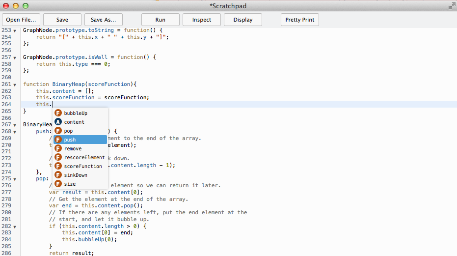 Screenshot of scratchpad showing an autocompletion list
