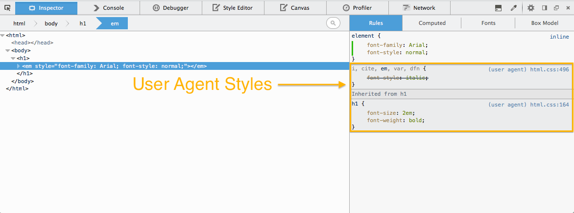 Screenshot of viewing user agent styles in the Inspector Panel