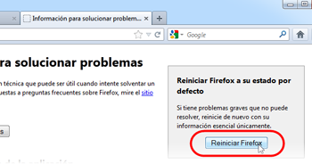 Restablecer tu Firefox
