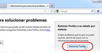 Restablecer tu Firefox