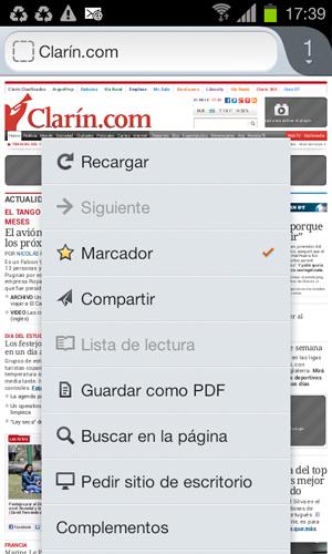 Marcadores en Firefox para Android