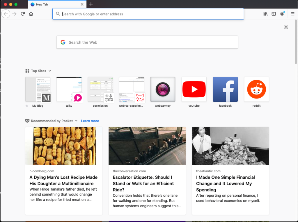 home in an instance of Firefox. There are a series of Top Sites listed including Facebook, YouTube and Reddit. There are three Pocket stories also listed.