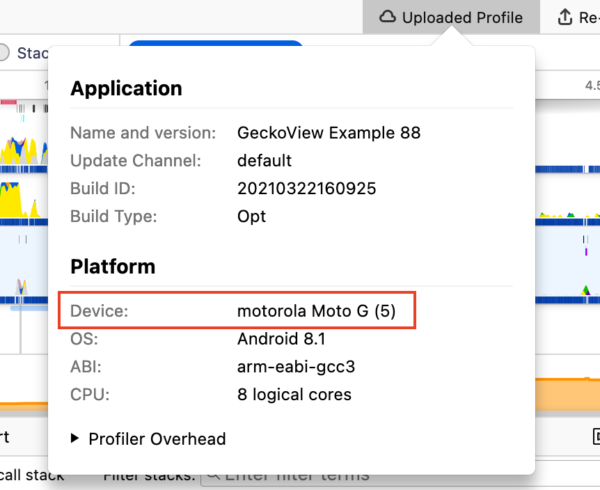 """After opening the Profile Info panel on the top right corner, you will find the """"Device"""" field under the Platform section"""