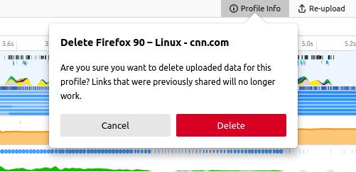 "Profile delete button can be found inside the ""Profile Info"" panel at the top right corner."