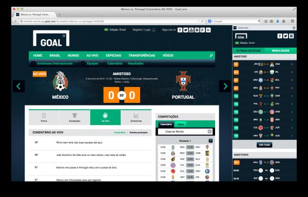 A barra lateral do Goal.com no Firefox para Windows, Mac e Linux