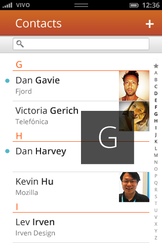 Firefox OS Contacts Screen
