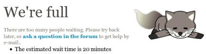Queue status example, Live Chat full