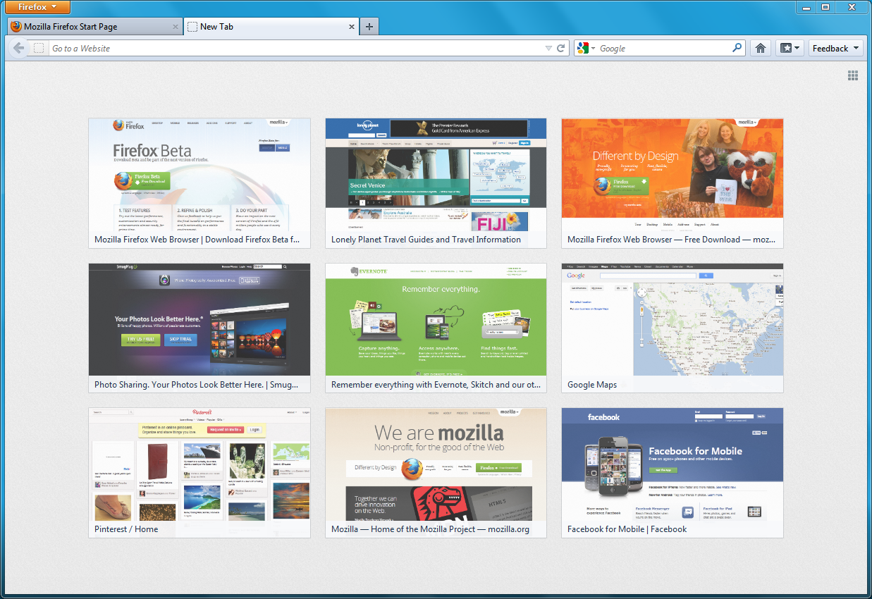 Firefox 13 New Tab Page