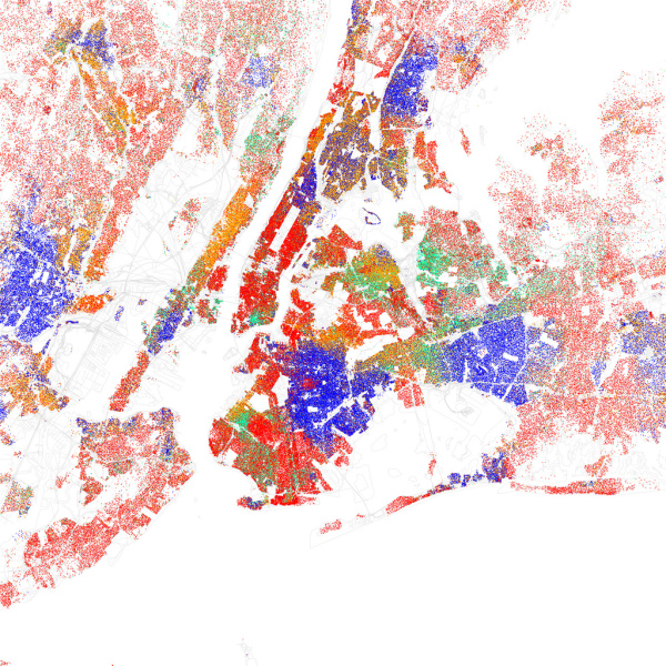 This is a map of New York City based purely on the ethnicity of residents. Red is White, Blue is Black, Green is Asian, Orange is Hispanic, Yellow is Other, and each dot is 25 residents. Of course, there are historical and cultural reasons for the clustering, but these factors are part of the overall social dynamic. https://www.flickr.com/photos/walkingsf/