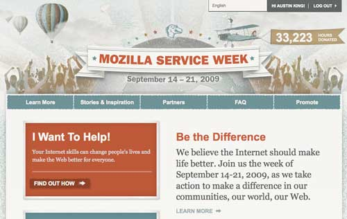 Screenshot of Mozilla Service Week