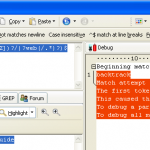 Screenshot of RegexBuddy testing Rewrite Rule pattern