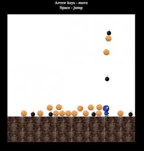 Screenshot of slay.js demo game showing a small blue character, cookies, and bombs.