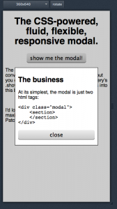 Screenshot of fancy modal popup in a small mobile resolution.
