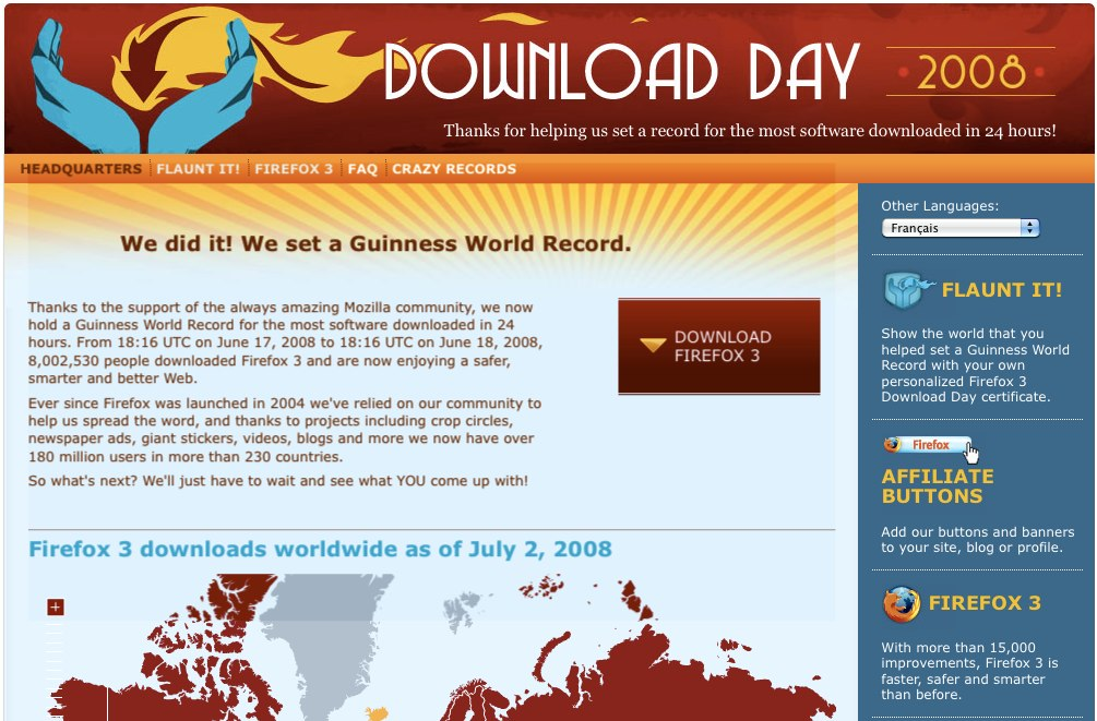 "The Mozilla website Download Day 2008 has been retired in December 2010. Per the website, ""Thanks to the support of the always amazing Mozilla community, we now hold a Guinness..."