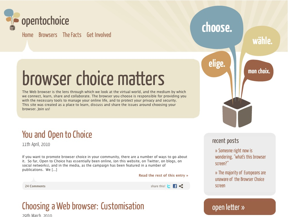 The Mozilla website Open to Choice was retired in December 2010. Open to Choice was an informational website created by Mozilla, to provide more deatils surrounding the Microsoft 'Browser Choice...