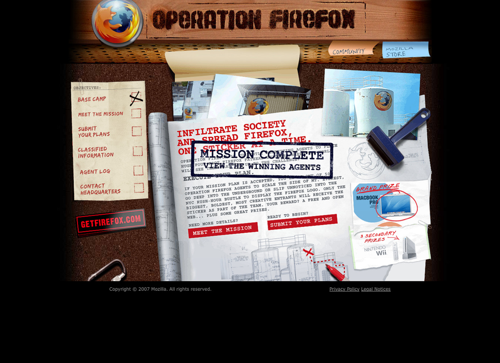 The website Operation Firefox has been retired in December 2010. The blog post describing the successful mission is available at:  http://blog.mozilla.org/operationfx/2007/12/14/declassified-information-and-the-winner-is/