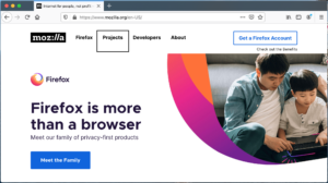 "Screenshot of the Firefox browser window with VoiceOver active and ""Projects"" link highlighted"
