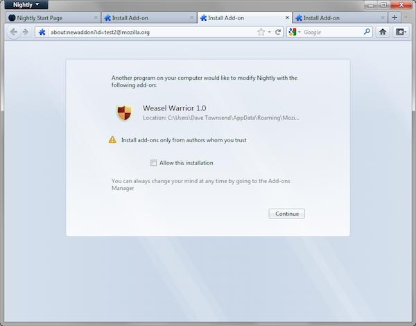 Firefox Add-On Opt-in